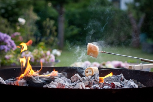 skewered marshmallows roasting over a charcoal grill