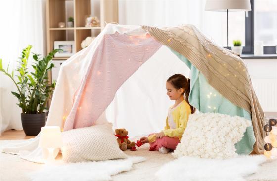 girl in a tepee