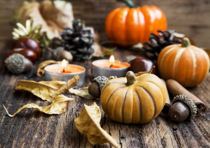 Fall Decoration.Pumpkins,Orange Candles,Cinnamon,Chestnuts and