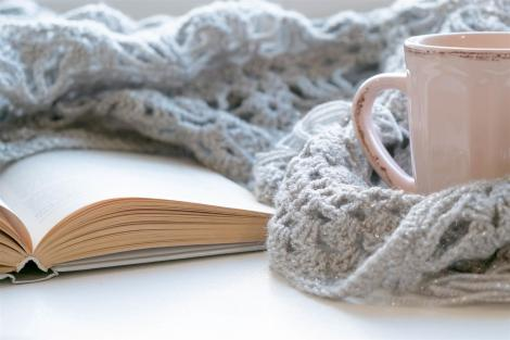 a book, a pink mug, and a cozy-looking gray scarf
